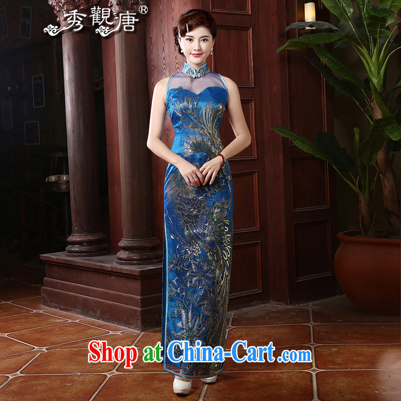The CYD HO Kwun Tong' Fung Ying 2015 retro long, the Lao dresses upscale banqueting Ms. cheongsam dress QD 4744 royal blue XXL