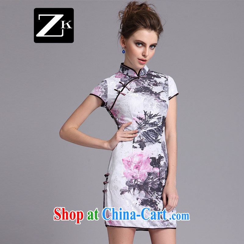 ZK female 2014 summer, the cheongsam dress cheongsam dress improved retro sexy outfit female white XXL