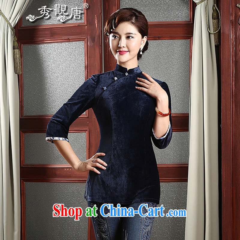 The CYD HO Kwun Tong' antique 2015 new autumn Tang Women's clothes Chinese improved China's Ethnic Wind T-shirt MOM replace TZ 4740 dark blue XXL