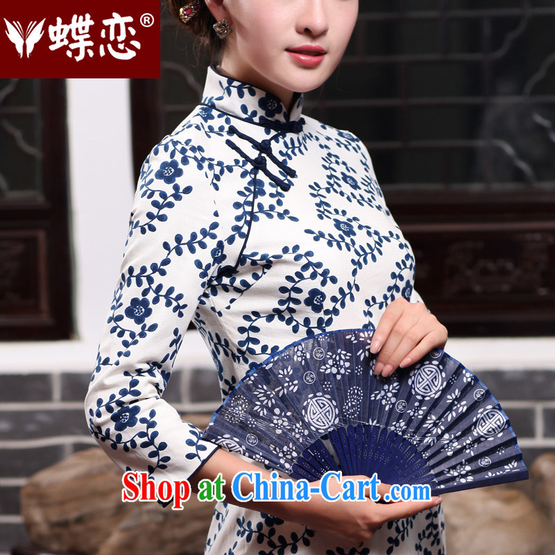 Butterfly Lovers 2015 spring new women with improved modern cheongsam dress daily cultivating the cotton robes 47,011 figure XXL