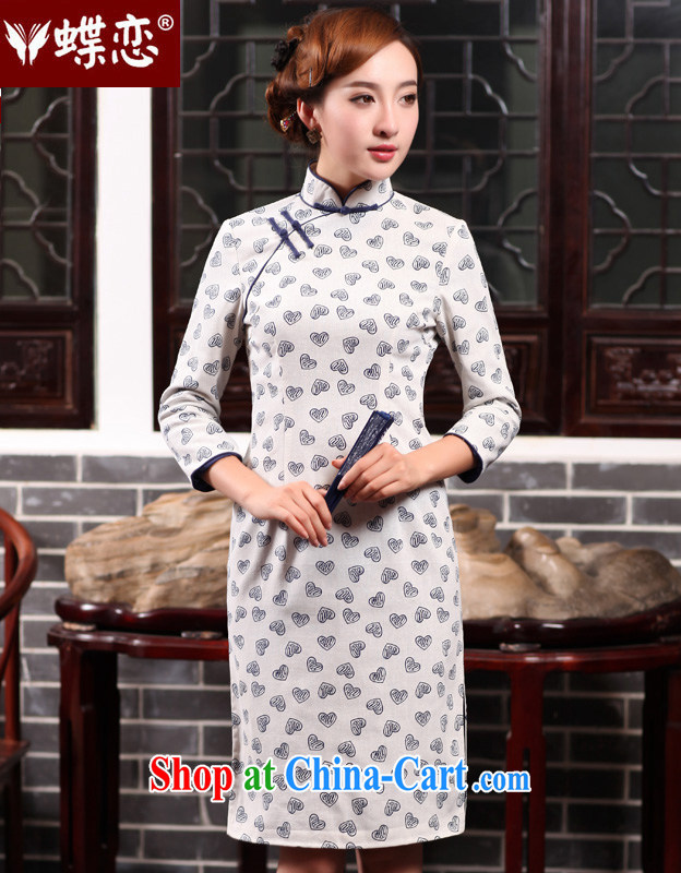 Butterfly Lovers 2015 spring new women with improved stylish beauty dresses skirts everyday cotton the cheongsam-yi 47,012 figure XL