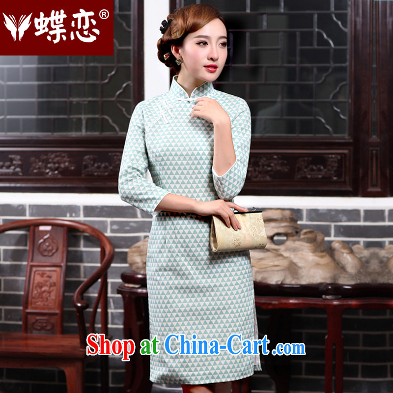Butterfly Lovers 2015 spring new women with improved stylish beauty dresses skirts everyday cotton the cheongsam dress 47,014 figure XXL