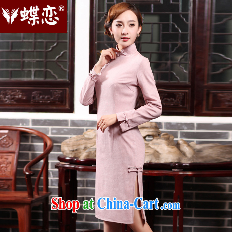 Butterfly Lovers 2015 spring new cheongsam dress style retro long cotton dresses the daily fashion improved cheongsam dress 47,017 light pink XXL