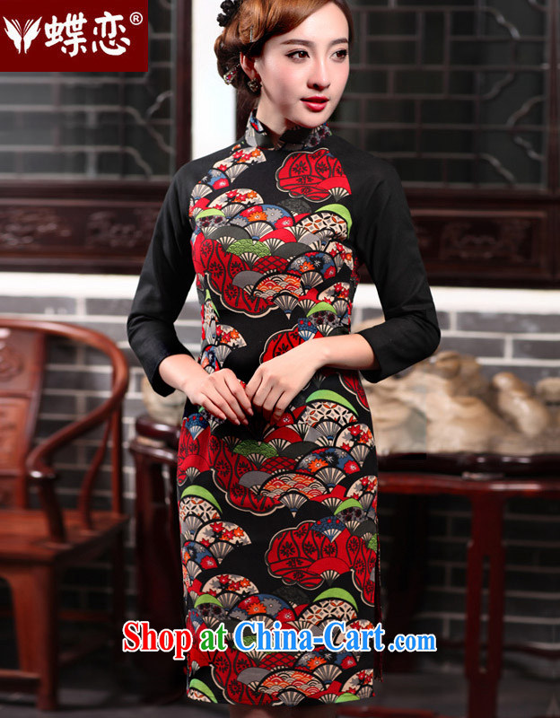 Butterfly Lovers 2015 spring new female Ethnic Wind retro improved fashion cheongsam dress Daily Beauty 47,018 dresses figure XXL