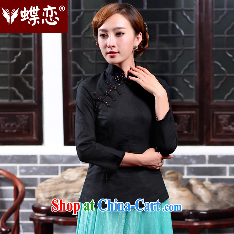 Butterfly Lovers 2015 spring new stylish improved cheongsam shirt China wind cotton the Chinese female T-shirt 47,020 black XXL