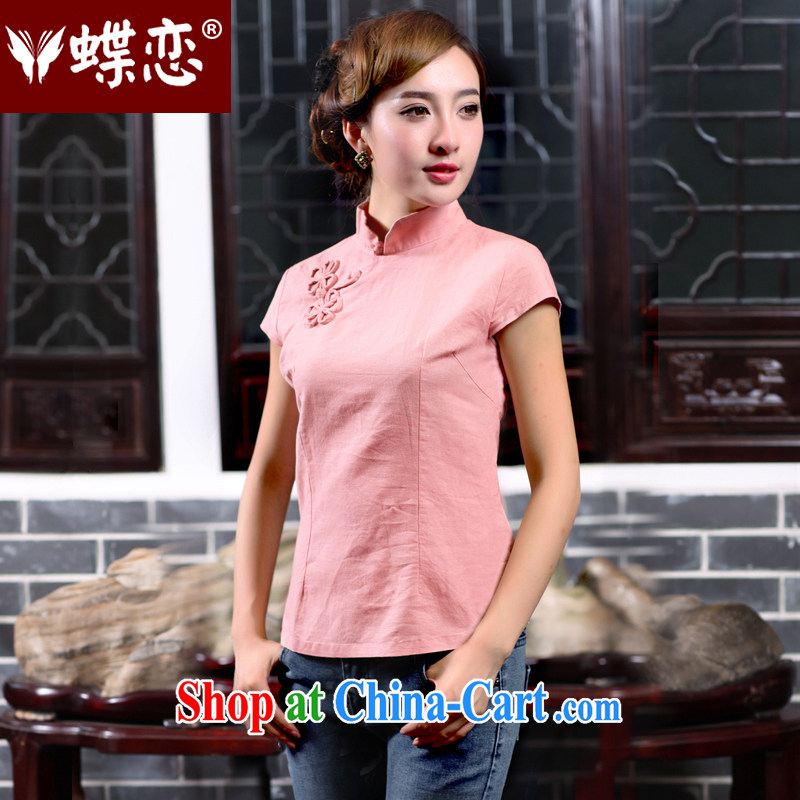 Butterfly Lovers 2015 spring new improved cheongsam shirt linen Tang is a short-sleeved shirt female 40,160 pink XXXL