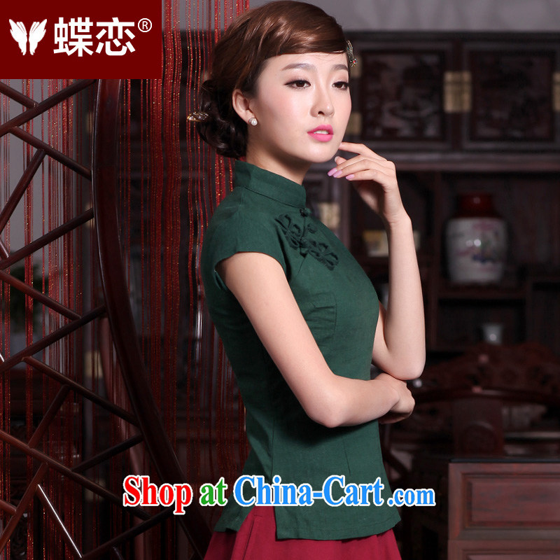 Butterfly Lovers spring 2015 the new, improved cheongsam shirt linen Tang with a short-sleeved shirt female 40,160 pink XXXL, Butterfly Lovers, shopping on the Internet