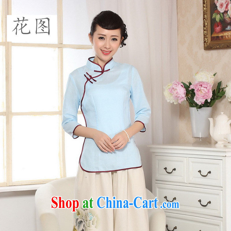 Spend the autumn and the new hand-painted dresses T-shirt cotton the linen Chinese Ethnic Wind women leaders, Tang is improved 0-A sky 2 XL