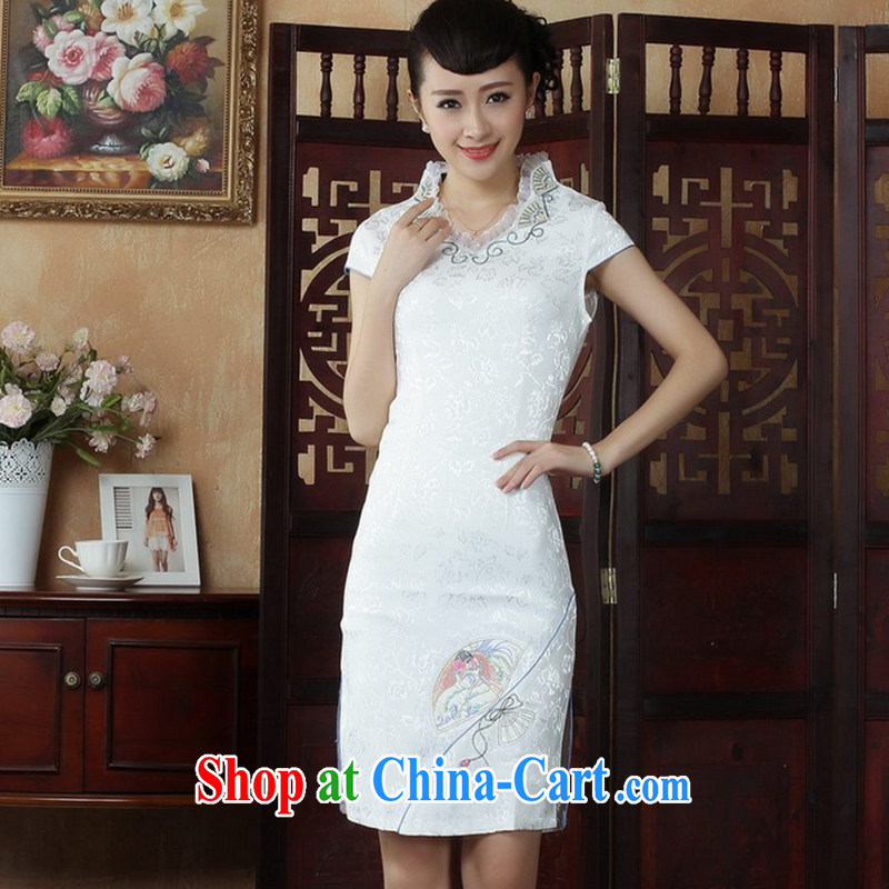 Take the Ms. load new women summer load for the cheongsam stylish Chinese improved jacquard cotton robes white XL
