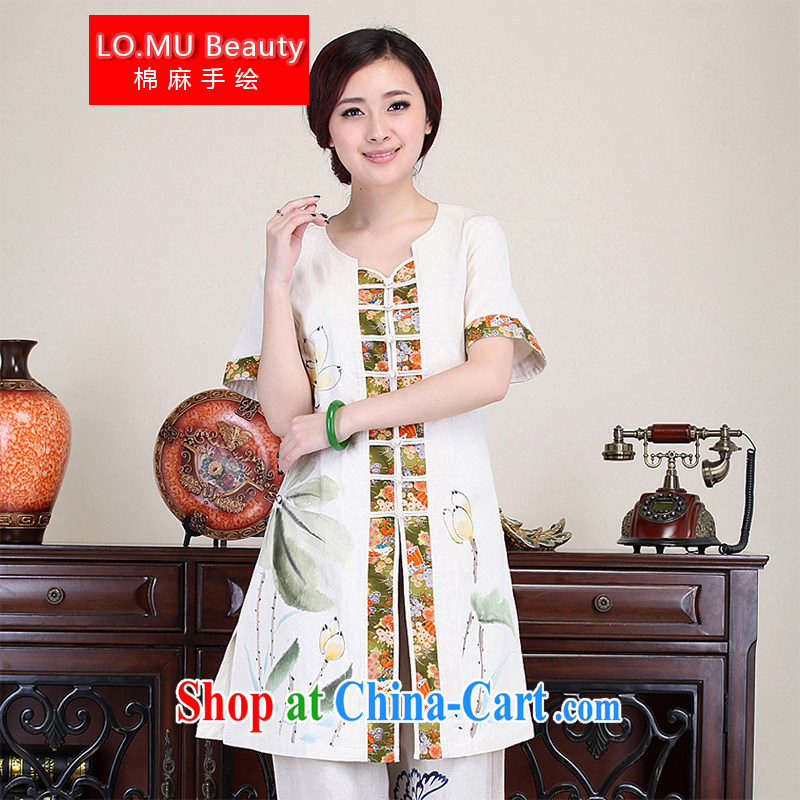 LO . MU Beauty fall 2014 cotton the female hand-painted Lotus short-sleeved China wind Tang with long T-shirt improved cheongsam white S code