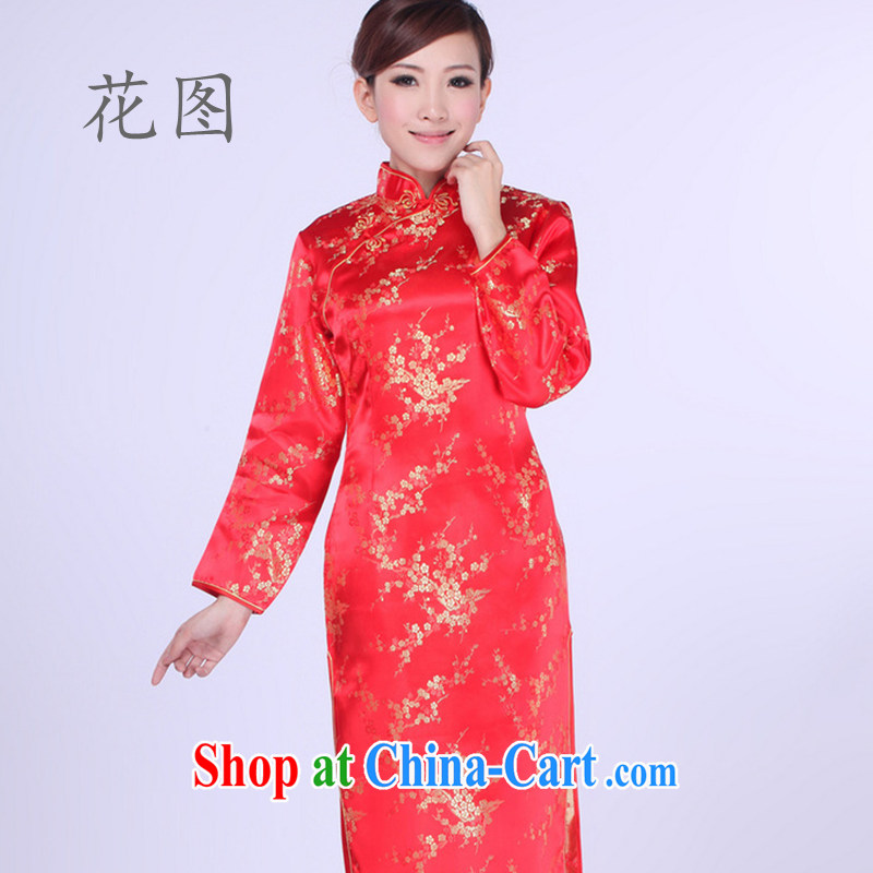 Take the Ms. replace the need for hard-pressed damask cheongsam qipao etiquette marriages long-sleeved robes red 2 XL