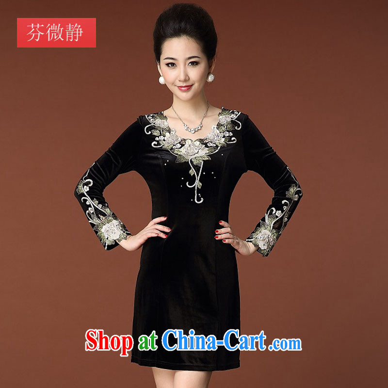 Autumn 2014 the new products, women Beauty aura long-sleeved gold velour new dresses qipao 8352 #black 4XL