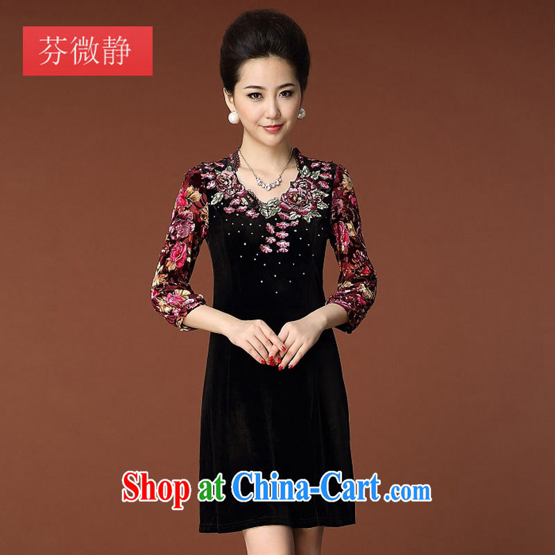 In 2014 older MOM autumn is new, the commute's embroidery embroidered long-sleeved gold velour dress qipao 8351 black 5 XL