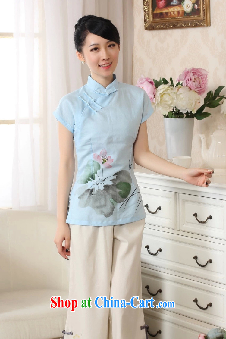 The Balaam poetry 2014 new female Ethnic Wind hand-painted Lotus carved with comfortable cotton Ms. Yau Ma Tei T-shirt short-sleeved Chinese blue lake S pictures, price, brand platters! Elections are good character, the national distribution, so why buy now enjoy more preferential! Health