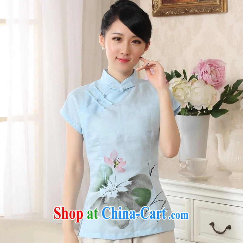 The Balaam poetry 2014 new female Ethnic Wind hand-painted Lotus carved with comfortable cotton Ms. Yau Ma Tei T-shirt short-sleeved Chinese blue lake S