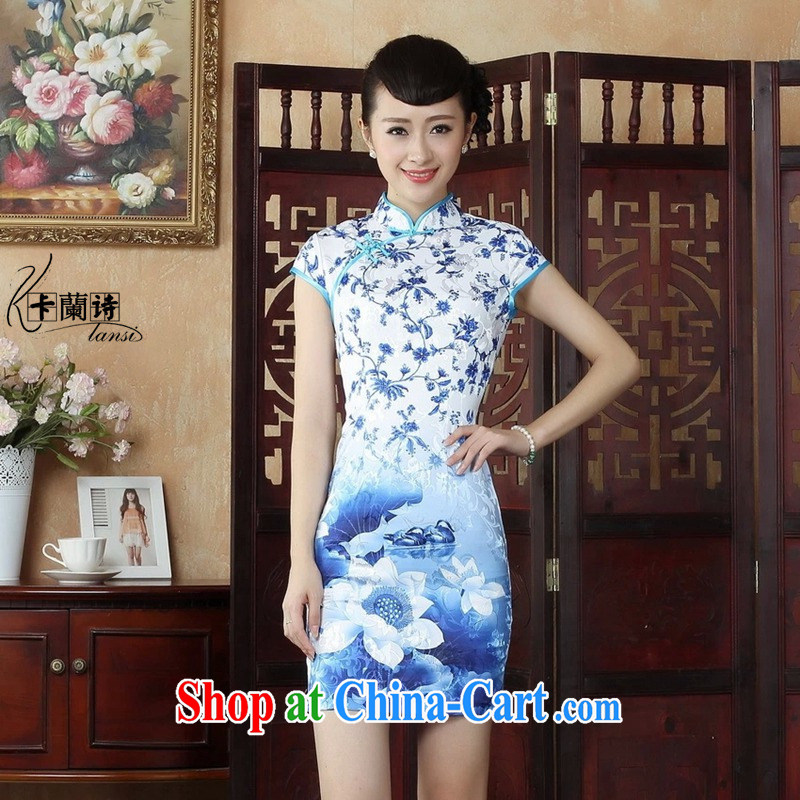 The Balaam poetry 2014 female new Ethnic Wind blue stamp, full cotton cultivating short-sleeved qipao Cheong Wa Dae spent 40