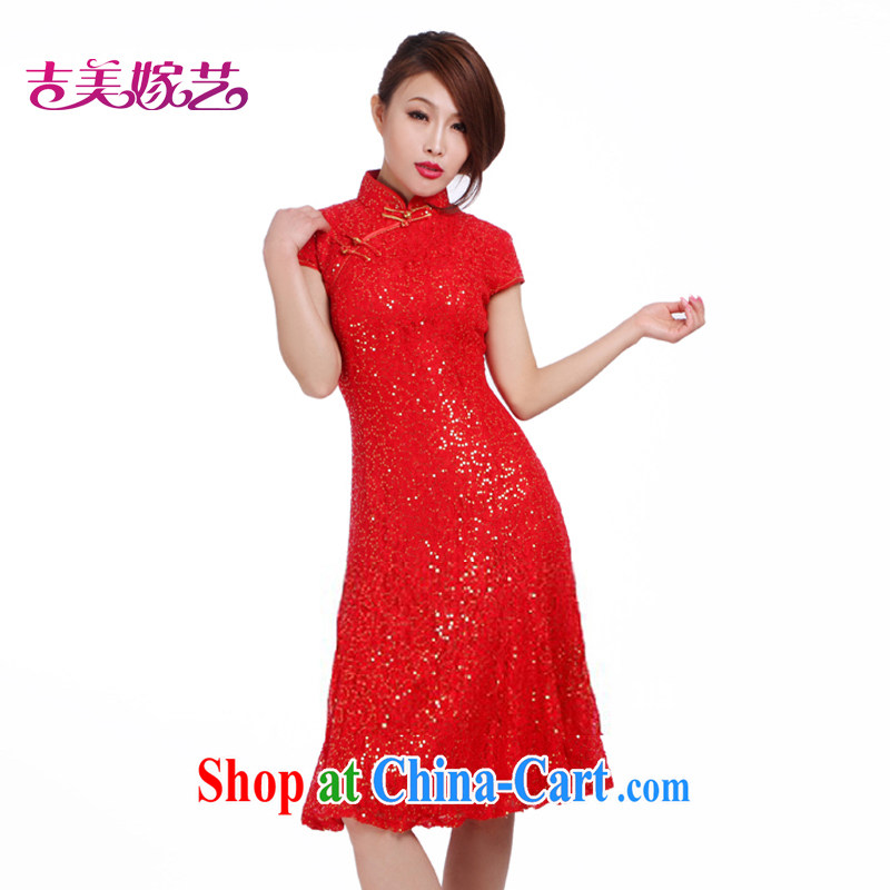 wedding dresses Jimmy married arts 2015 new bag shoulder short cheongsam dress short Q 323 bridal dresses red XL
