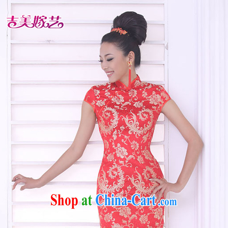 wedding dresses Jimmy married arts 2015 new bag shoulder cheongsam dress short QP 321 bridal dresses red XXL