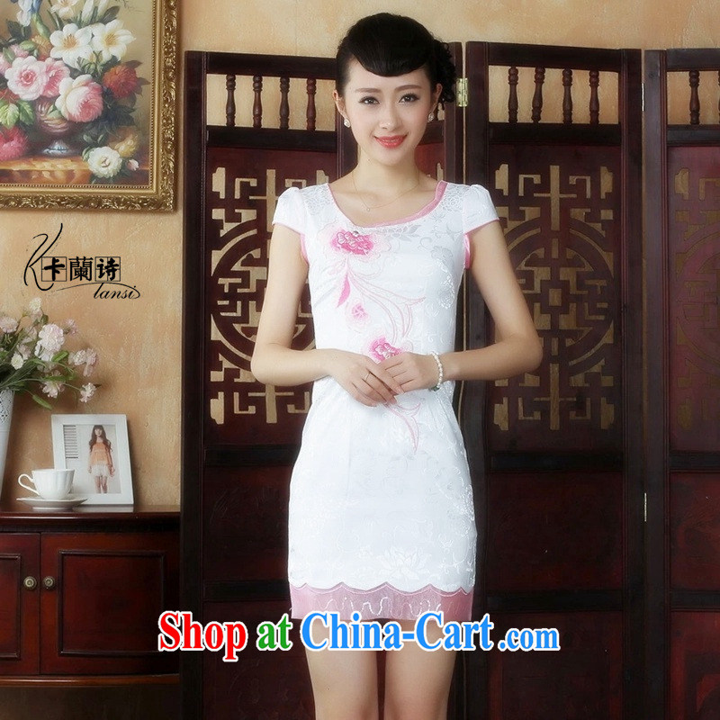 The Balaam poetry 2014 Chinese National wind improved, women cheongsam embroidered panels drill beauty and elegant short-sleeved dresses picture color 32