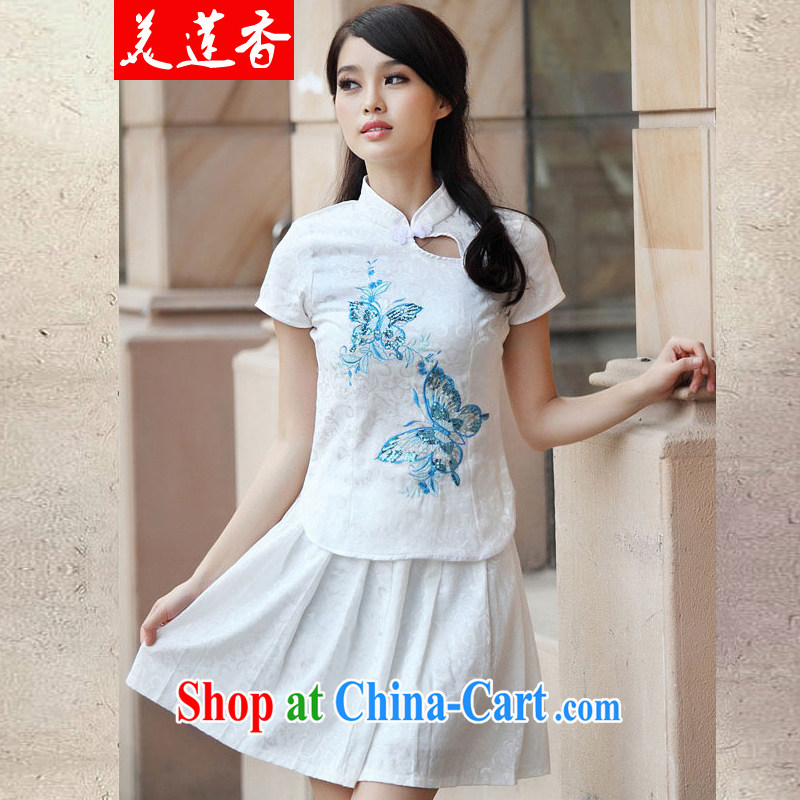 The Siang summer new outfit Kit elegant antique fresh Chinese to Butterfly cheongsam dress Kit 095 #blue XL