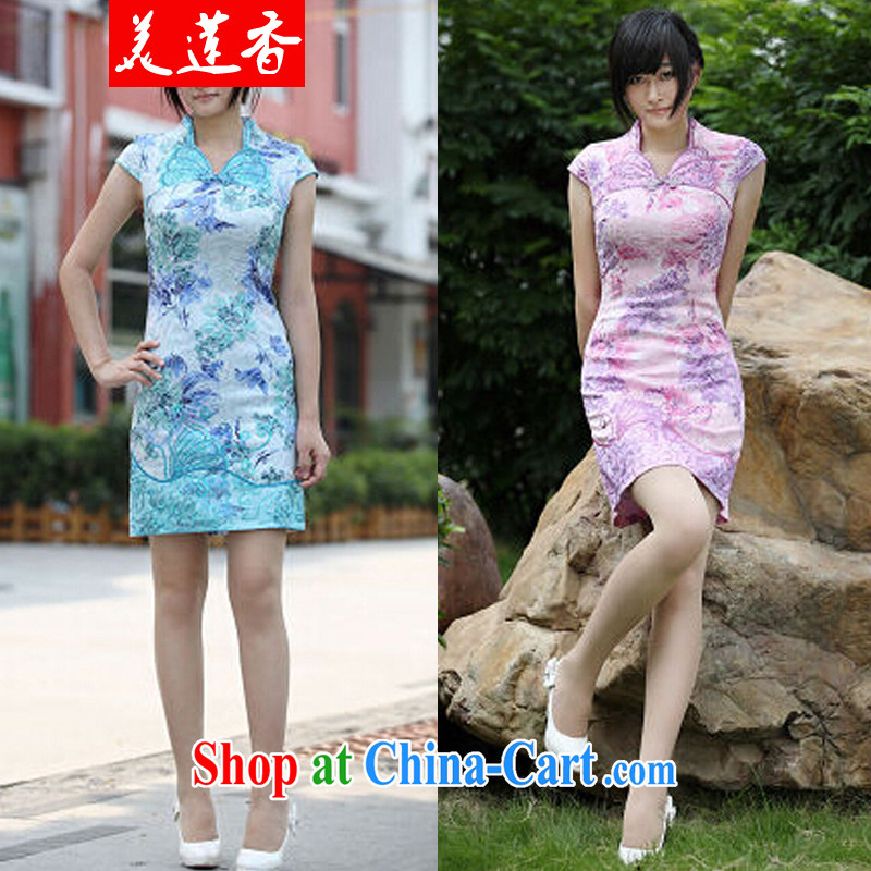 The Siang 2014 summer gorgeous butterfly dance cotton butterfly embroidery cheongsam exquisite 096 #purple XL