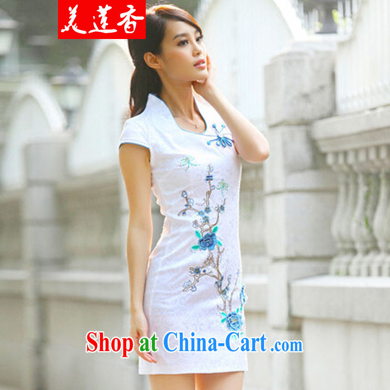 The Siang summer new cheongsam dress summer improved cheongsam Chinese elegant and stylish everyday dresses 097 _blue XL