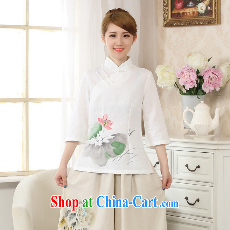 Spend the autumn and the new hand-painted dresses T-shirt, cotton for the linen Chinese Ethnic Wind female Tang with improved white XL