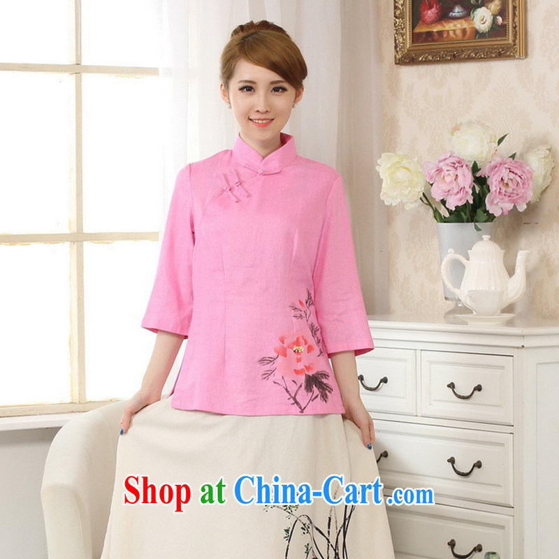 Spend the autumn and the new hand-painted robes cotton the linen Chinese Ethnic Wind blouses Tang is improved - B 2 XL
