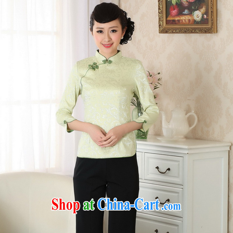 Take the fall with new products, for improved cheongsam Chinese Chinese Tang Women's clothes a tight T-shirt pure cotton Tang discs - A green 2 XL
