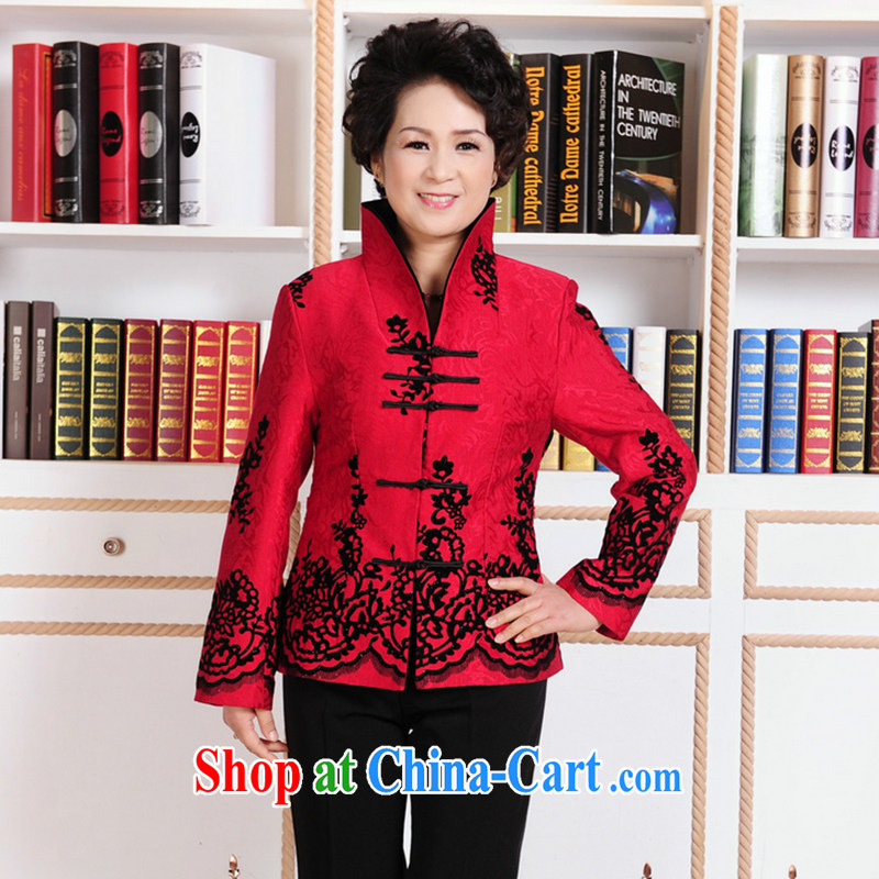spend the winter with new, older Chinese, for MOM Women's clothes to life wedding day-long-sleeved jacket women - 1 red 3 XL