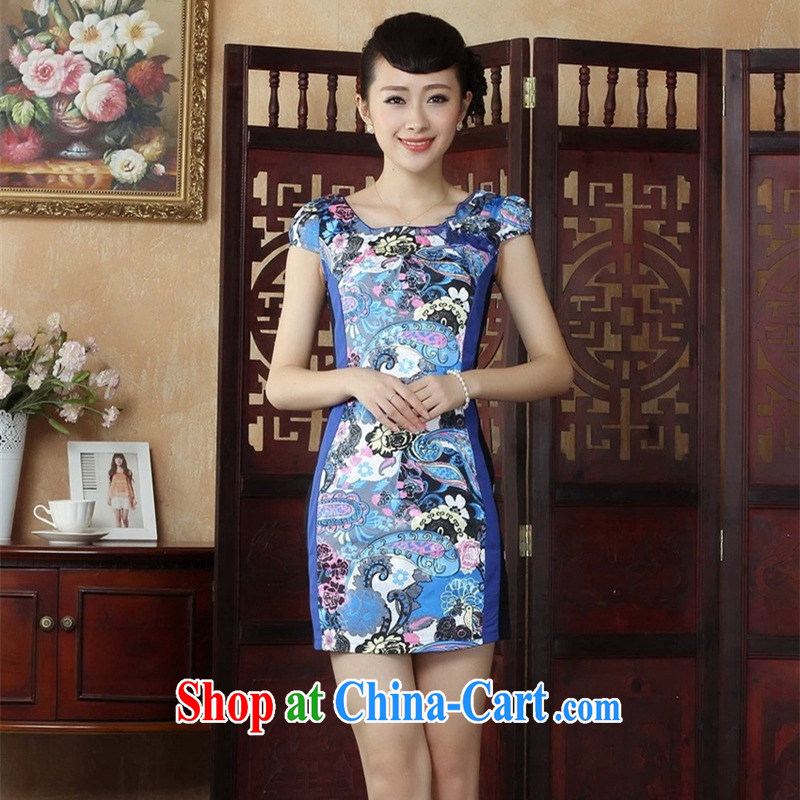 The Balaam poetry 2014 stylish women China wind embroidered improved, short-sleeved no fork female outfit fresh blue 40