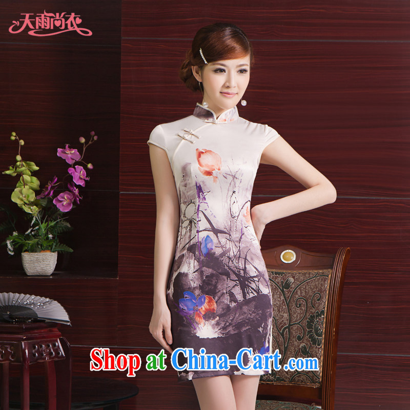 Rain Coat yet married women Chinese Chinese Dress photo building photo album Photo skirt stylish decorated in summer, daily short-sleeved dresses QP 7056 photo color XXL