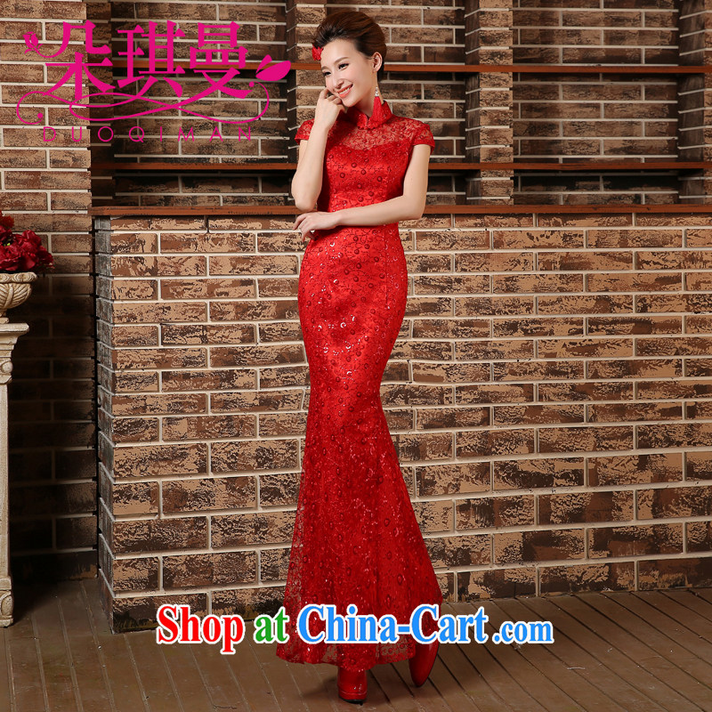 Flower Angel, summer 2014 new brides with marriage yarn dresses retro lace bows Service Improvement crowsfoot long red cheongsam XXL