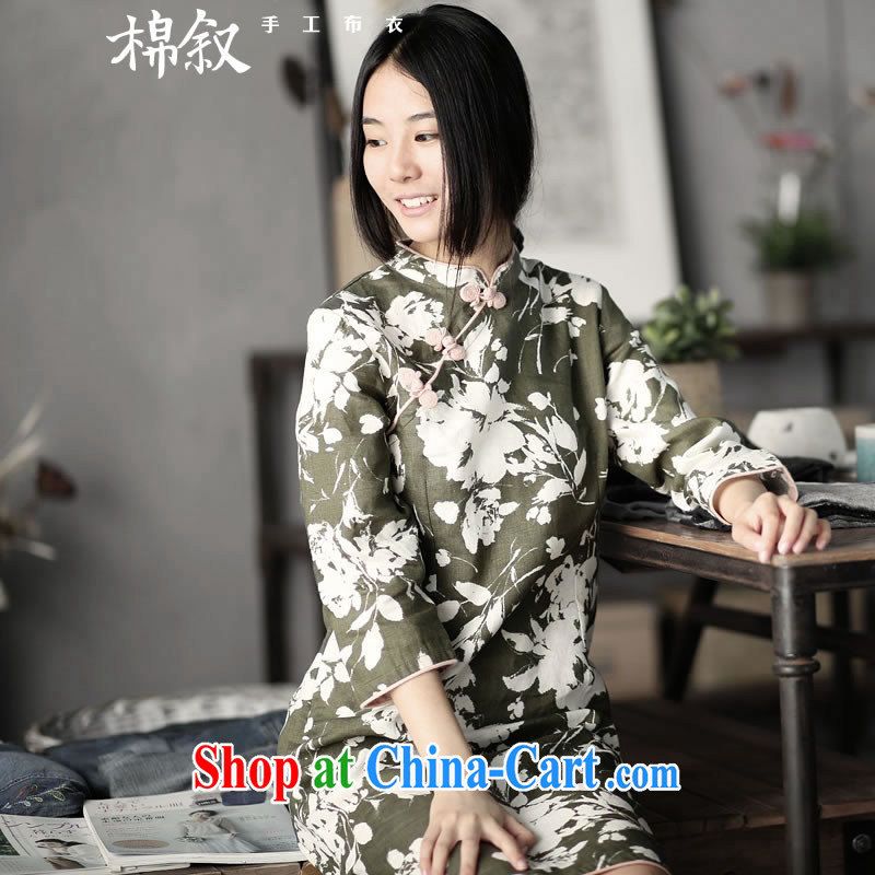 Syrian cotton in 4135 page the quiet of spring 2015, plain linen light Chinese stamp duty cuff in cheongsam dress green M