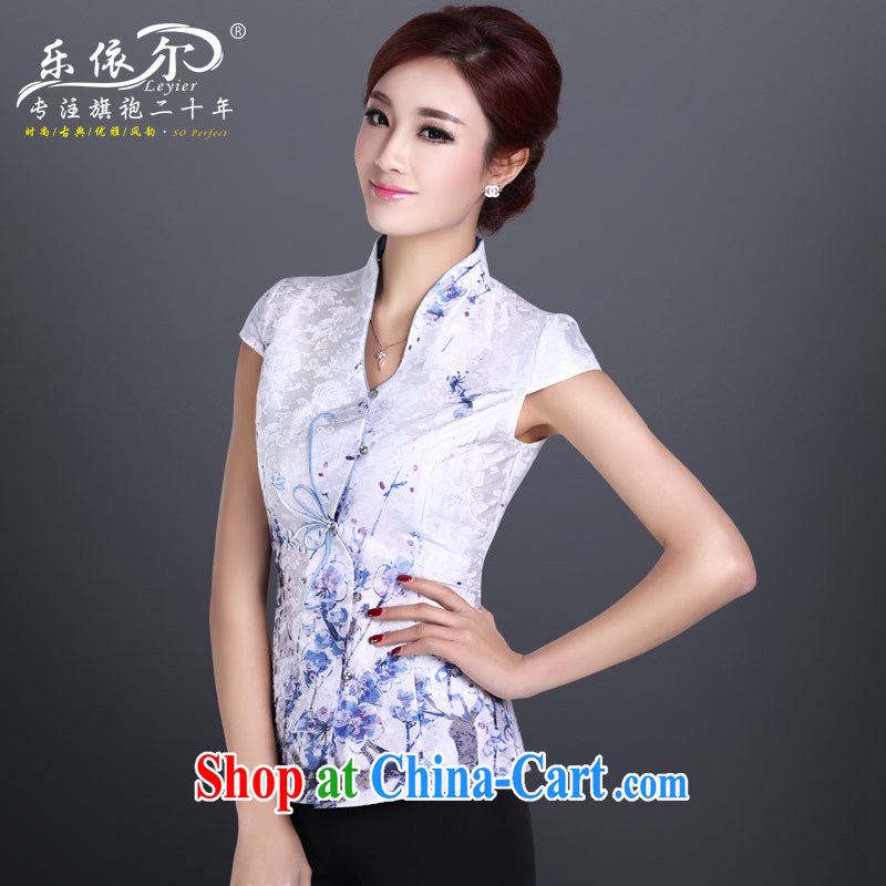Music in summer Chinese qipao Ethnic Wind antique dresses T-shirt elegant personalized improved short-sleeved dresses summer white T-shirt + pants XXL