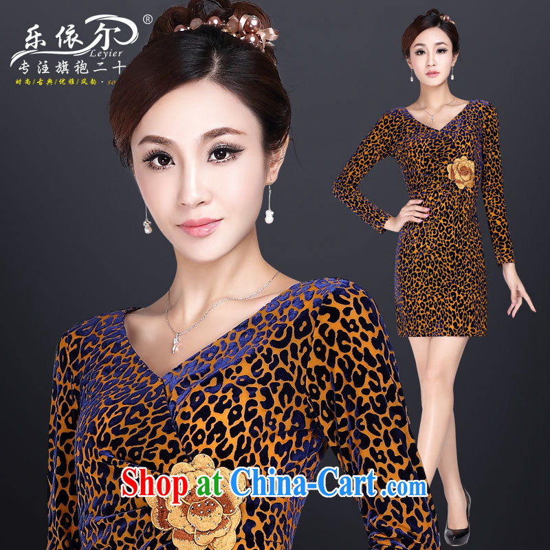 And, in accordance with a refreshing autumn beauty velvet antique dresses skirts improved stylish embroidered Leopard stretch sexy outfit Leopard XXL, in accordance with (leyier), shopping on the Internet