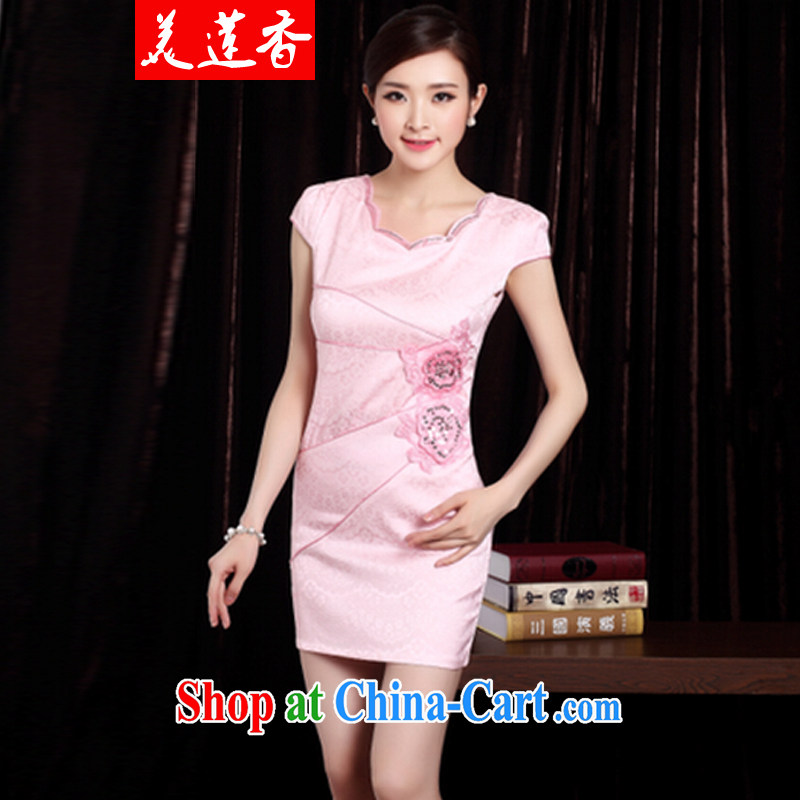 The Siang 2014 summer outfit New dresses, stylish embroidered clothes video waist dresses summer dresses dresses pink XXL