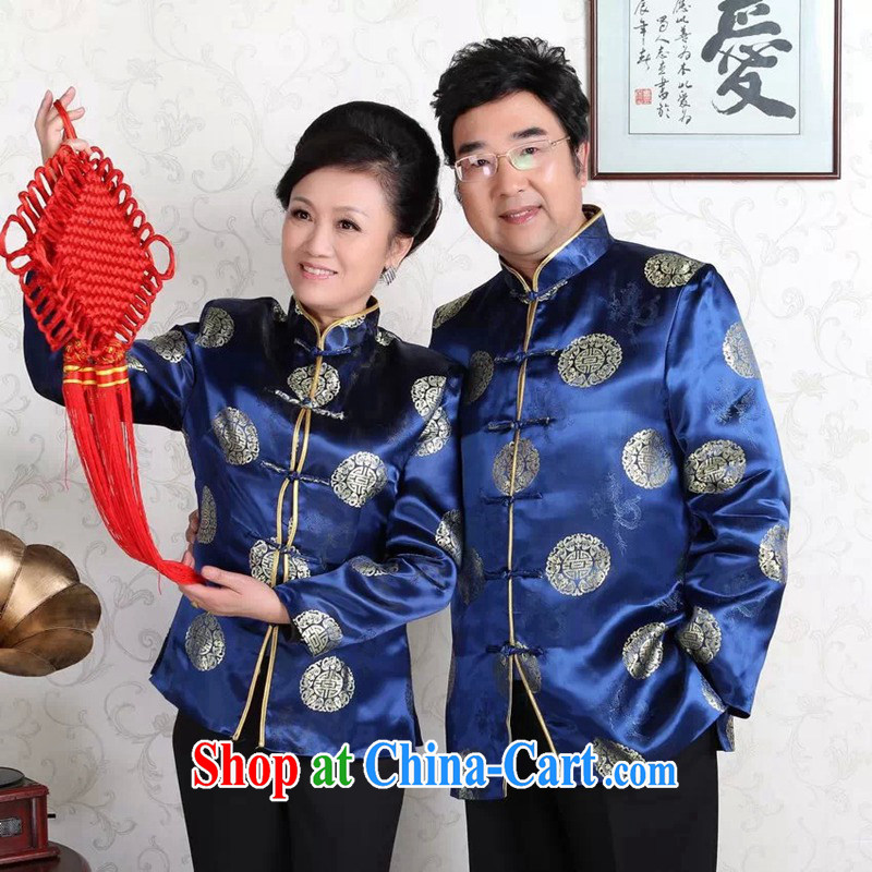 Spring, middle-aged and older men and women's clothes, for high quality damask Mom and Dad couples Tang is a life happy new year service female Tang fitted with cotton, blue female 3 XL