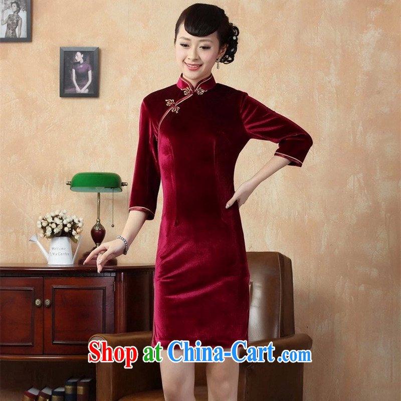 High quality manual pure-color-stretch 7 cuff really velvet cheongsam stylish women TD 005 red 3XL