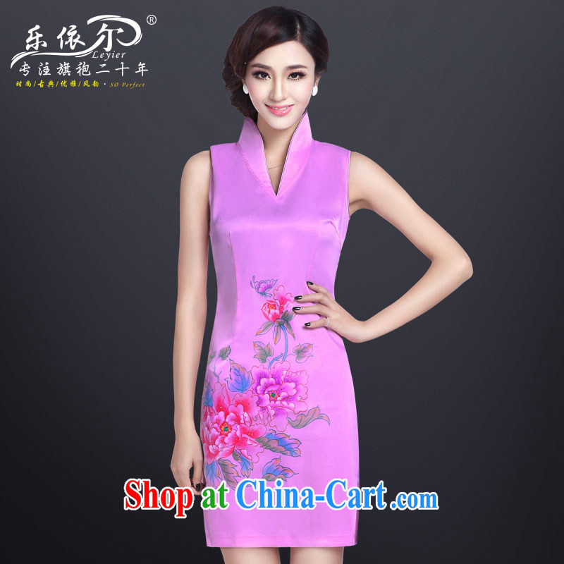 And, in accordance with paragraph summer elegant qipao stylish improved sexy short dresses V collar retro dresses skirt dress pink M