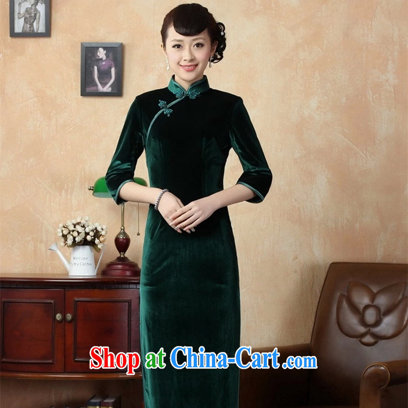 The Balaam poetry elegant ladies handcrafted solid-stretch the wool 7 cuff long cheongsam green 3XL