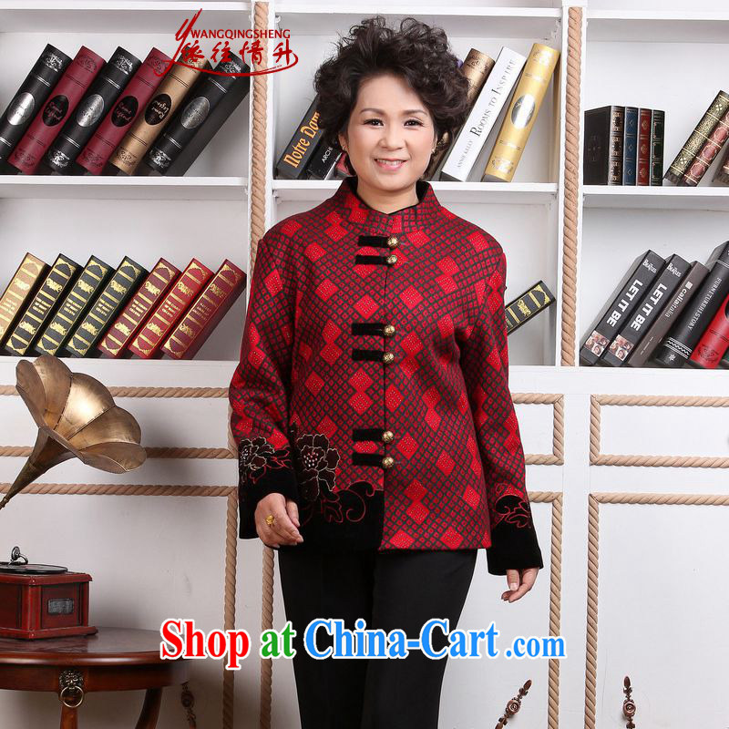 In accordance with the conditions in Spring and Autumn and stylish new products, old mother with a collar stitching embroidery Tang jackets - 1 4 XL