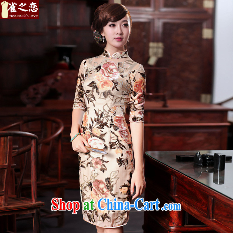 Birds love, brachial Fong Chau 2015 spring new Silk black flower lint-free cloth retro daily outfit QD 534 light apricot XXXL