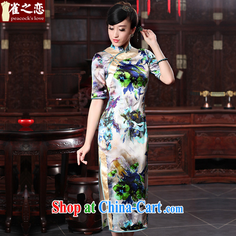 Birds love curtain inviting 2015 spring new cheongsam dress retro elegant and exclusive long Silk Cheongsam QD 536 fancy M