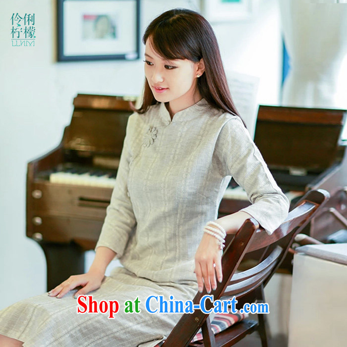 Lara lemon Original Design retro Ethnic Wind 10,369 arts, cotton clothes improved cheongsam Chinese Wind Light Gray - pre-sale 15 days Shipment L