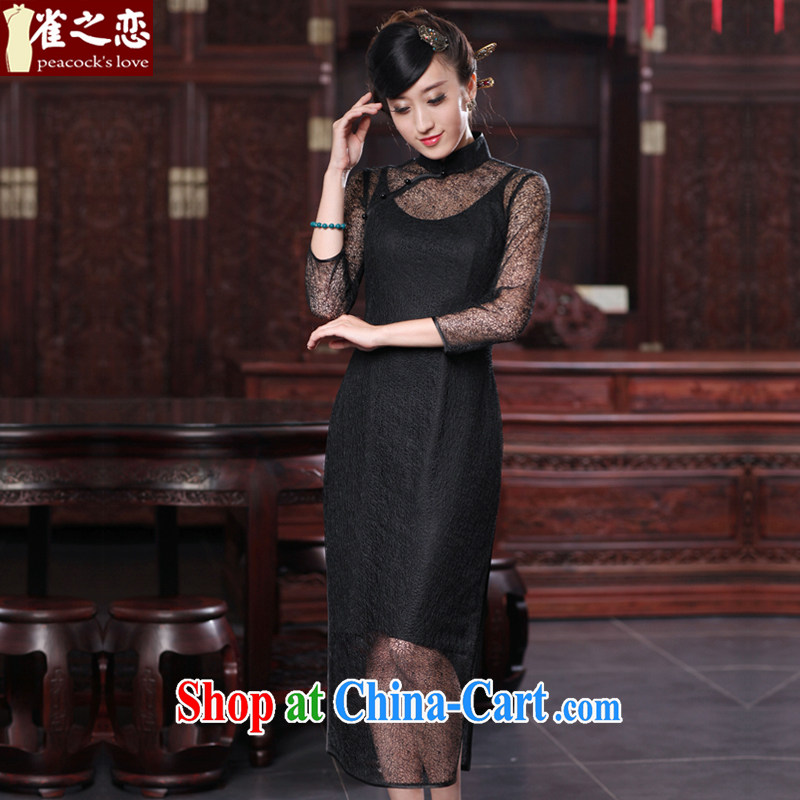 Bird lovers of silk and bamboo surplus ear 2015 spring new cheongsam dress improved stylish silk two-piece sexy outfit QD 537 black XXXL