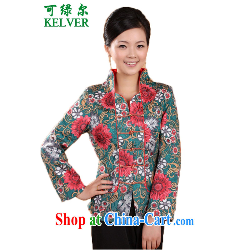 To Green, spring older stylish new products for the floral double the mother load Tang jackets - 1 blue saffron XL