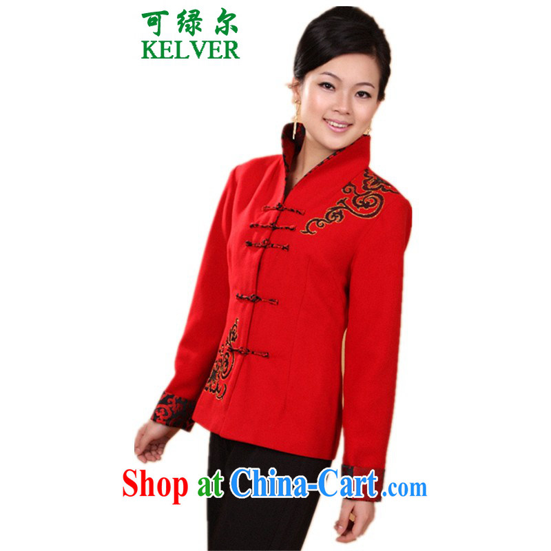 To Green, older women spring fashion new MOM with a collar embroidered Tang jackets - 1 red M