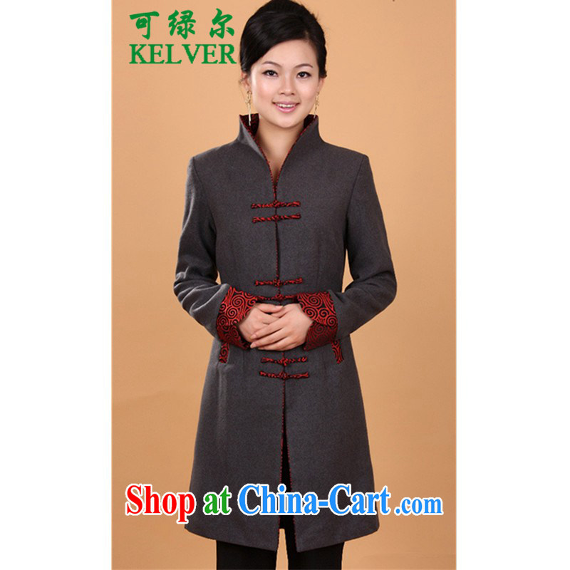 To Green, older women spring fashion new MOM with a collar stitching Tang mounted wind jacket WNS_2987 _1 gray 4 XL