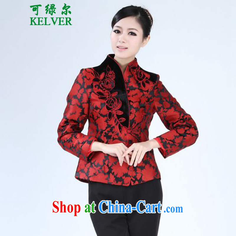 To Green, spring fashion, the older MOM with a collar stitching Tang jackets - 2 3 XL